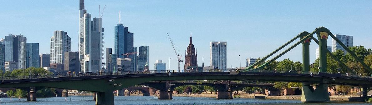 Frankfurter Skyline vom Main aus gesehen mit dem Dom in der Mitte